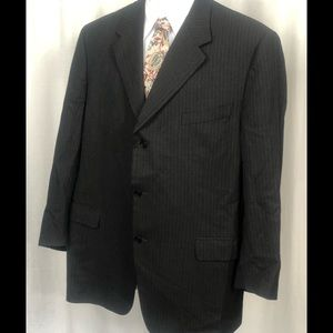 * CANALI * 58R US 48R Grey White Striped 100% Wool